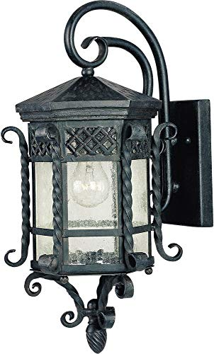 Maxim 30123CDCF Scottsdale 1-Light Outdoor Wall Lantern, Country Forge Finish, Seedy Glass, MB Incandescent Incandescent Bulb , 100W Max., Dry Safety Rating, Standard Dimmable, Glass Shade Material, 5750 Rated Lumens