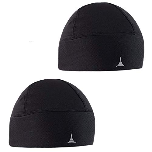 - French Fitness Revolution Skull Cap/Helmet Liner/Running Beanie - Ultimate Thermal Retention and Performance Moisture Wicking. Fits under Helmets (2PACK - Gray&Green)