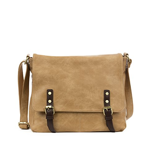 Handbag Republic Women's PU Leather Messenger Handbag Laptop Travel Carry On (Tan Messenger Style Handbag)