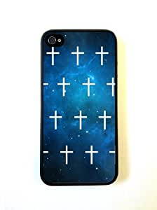 Blue Nebula Mini White Cross iphone 4 Cover Iphone 4s Case - For iphone 4 Cov...