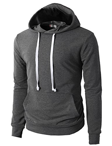 H2H Mens Fashion Slim Fit Lightweight Long Sleeve Hoodie With Various Pastel Colors Gray US XL/Asia 3XL (JNSK17) Simple Mens Hoodie