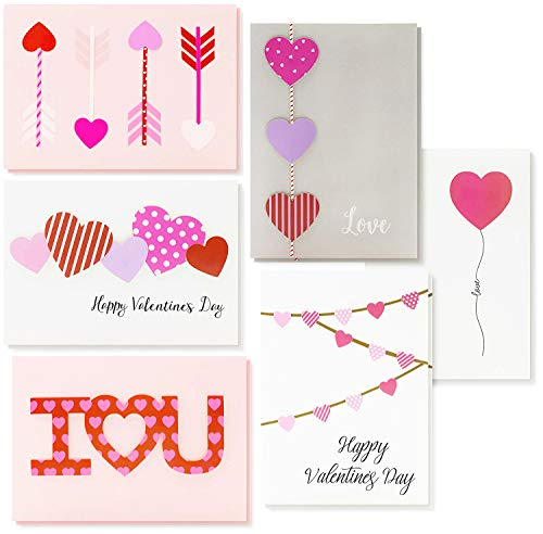 Best Paper Greetings 12-Pack Handmade Greeting Cards for Valentine's Day and Anniversary with 6 Unique Heart Love Designs, 5 x 7 -