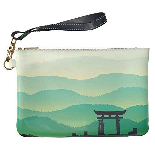 (Lex Altern Makeup Bag 9.5 x 6 inch Japanese Green Foggy Grassy Mountains Misty Nature Print Purse Pouch Cosmetic Travel PU Leather Toiletry Women Zipper Organizer Bathroom Storage Wristband Girl)