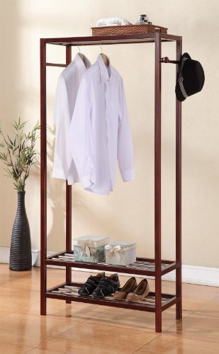 2 Tier Shelves Shoe Garment Coat Rack Hanger 65''h X 31.5''w Wooden Walnut Finish by eHomeProducts