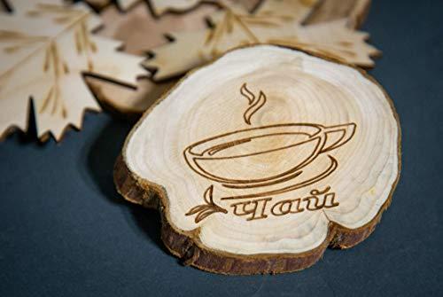 Teapot Trivets Set Handmade Carved Wood Ukrainian Juniper Wooden hot pad for a teapot + Cups by Tea Hot 2 (Image #6)