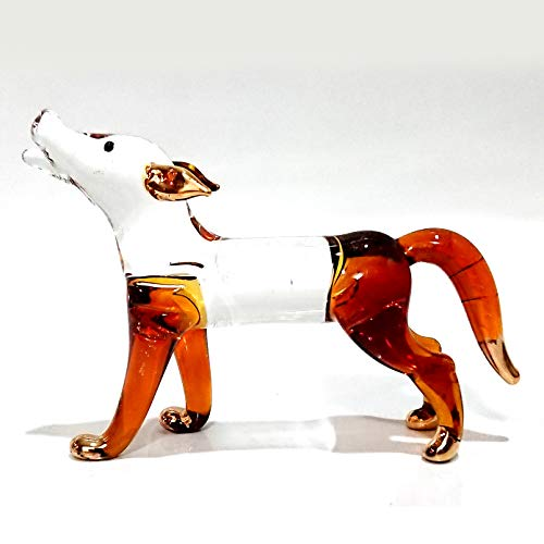 Sansukjai Fox Miniature Figurines Animals Hand Blown Glass Art 22k Gold Trim Collectible Gift Decorate, Clear Amber (Glass Fox)