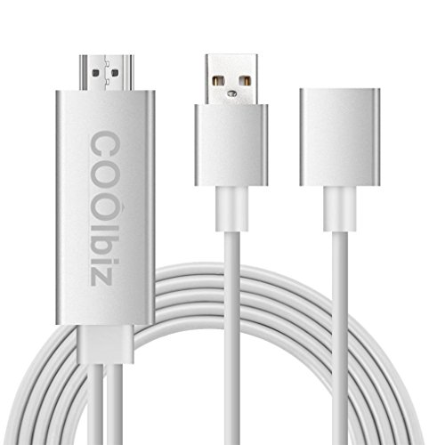 (TANGON High-Speed HDMI Cable, Lightning to HDMI, 1080P HDMI Video AV Cable HDTV Adapter for iPhone, Pad Air/mini/Pro, Samsung (Silver))