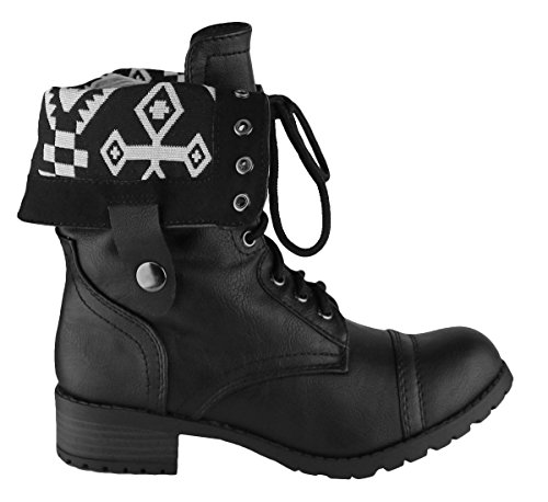 Women's Black Pu Combat Cambridge Cuff Chunky Stacked Boot Heel Select Over Aztec Lace Fold Up 7vRw5gqO