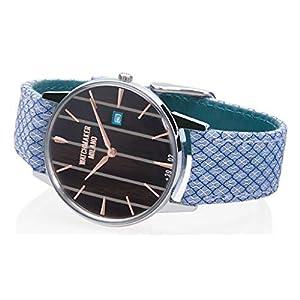 Watchmaker Milano – Reloj de Pulsera para Hombre, Vintage, de Cuarzo, con Caja Redonda y Correa Hecha a Mano de Tela