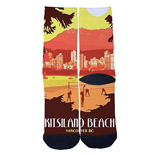 Mens Womens Casual Vancouver BC Vintage Travel Poster Beach Volleyball Match Socks Crazy Custom Socks Creative Personality Crew Socks Black]()