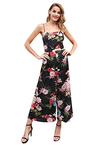 Simplee Women's Back Bow Spaghetti Strap Wide Leg Boho Floral Jumpsuit Romper