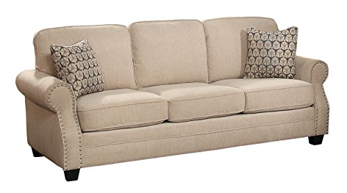 Homelegance Bechette Rolled Arm Sofa with Polished Nail Head