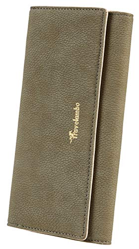 Travelambo Womens Wallet Faux Leather RFID Blocking Purse Credit Card Clutch (Green Army 770)