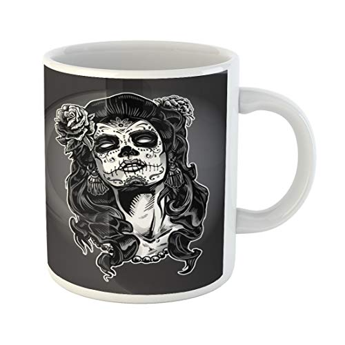 Semtomn Funny Coffee Mug Gray Tattoo Woman Sugar Skull Face Paint Dead Day 11 Oz Ceramic Coffee Mugs Tea Cup Best Gift Or Souvenir -