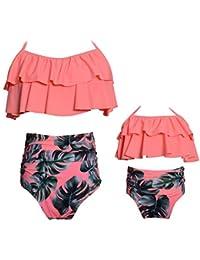 Kakawayi Mother and Daughter Matching Swimsuit High Waist Girls Swimwear