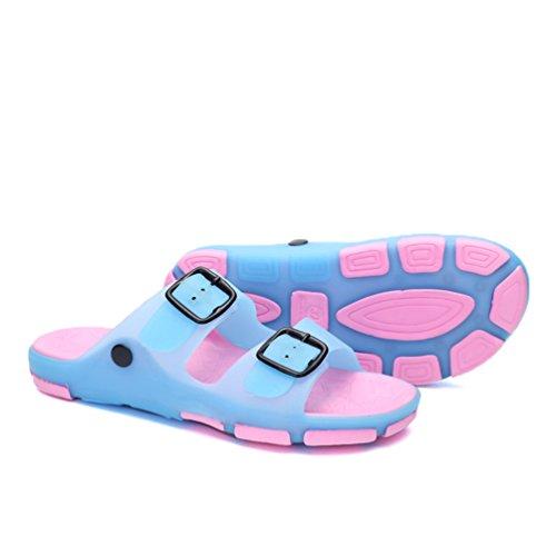 Hishoes - Zapatillas de estar por casa de pvc para hombre azul rosa