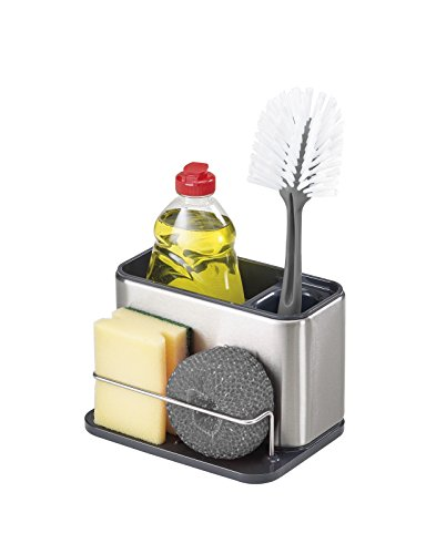 Joseph Joseph 85134 Surface Sink Caddy Stainless Steel Sponge Holder Organizer Tidy Drains Water for Kitchen, Large, Silver