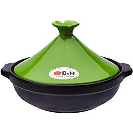 M.V. Trading Tagine Cooking for Cooktop or Oven, 1 Quarts (1000ml), 6 Inches (15 cm) 25 Generous rim allows for a secure grip during transport Cone-shaped lid forms an excellent seal to keep moisture and heat inside This Moroccan Tagine made with quality and colorful stoneware