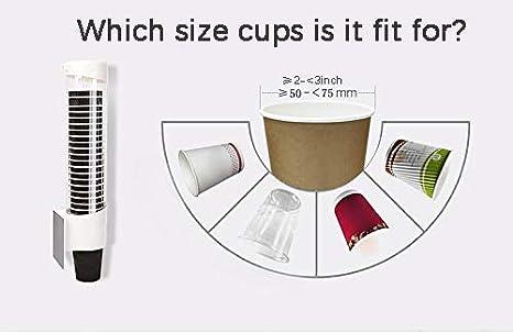 E-harvest Tasses en Papier M for 4-7 oz Cups Distributeur de Tasse deau Distributeur en Plastique fix/é au Mur pour des Tasses de Papier et des c/ônes de Papier biod/égradables