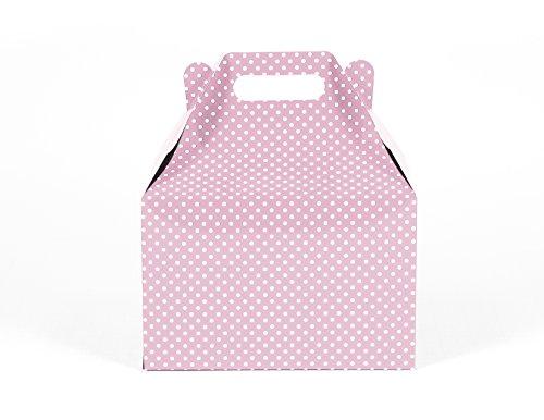 12CT (1 Dozen) Large Biodegradable Kraft / Craft Favor Treat Gable Boxes (Large, Polka Dot Light Pink )