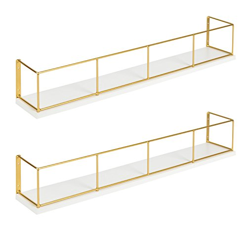 Kate and Laurel Benbrook 2-Pack Wood and Metal Floating Wall Shelves 24 inch White and Gold