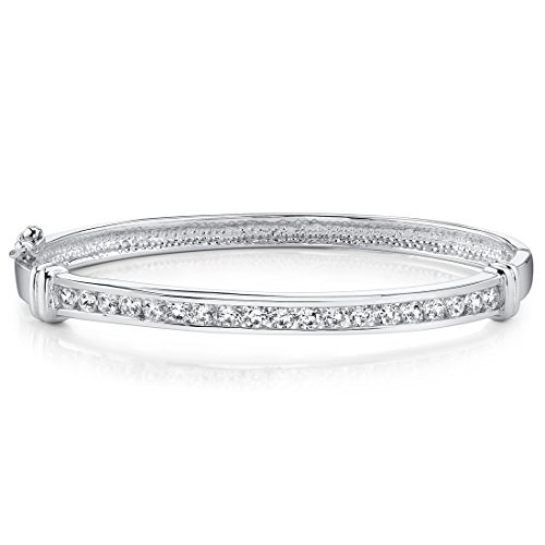 Forever Graceful Sterling Silver Rhodium Nickel Finish Channel Set Cubic Zirconia Hinged Bangle Bracelet