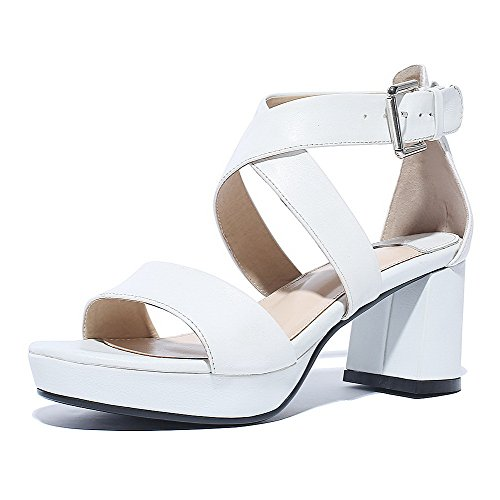 Kitten Sandals AmoonyFashion Heels Solid Leather Womens Open Buckle White Cow Toe OwwzIaUq