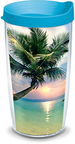 Tervis 1105157 Sunset in Paradise Insulated Tumbler with Wrap and Turquoise Lid 16oz Clear