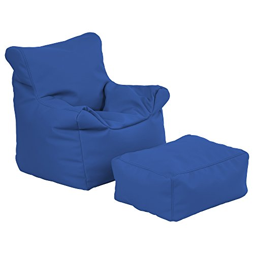(ECR4Kids Bean Bag Chair and Ottoman Set, Blue)