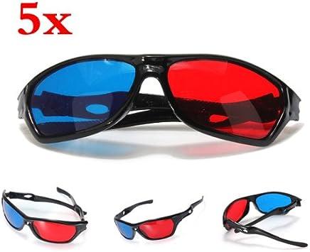 SODIAL(R) 5x rojo y azul anaglifo Dimensional 3D VISION Lentes Para TV Movie Game DVD: Amazon.es: Electrónica