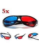 SODIAL(R) 5x rojo y azul anaglifo Dimensional 3D VISION Lentes Para TV Movie Game DVD