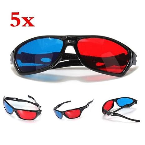 b2dfcf89b7 SODIAL(R) 5x rojo y azul anaglifo Dimensional 3D VISION Lentes Para TV  Movie Game DVD: Amazon.es: Electrónica