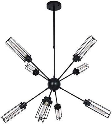8-Light Sputnik Modern Farmhouse Chandelier Mid Century Industrial Black Pendant Lighting Rustic Ceiling Light Fixture