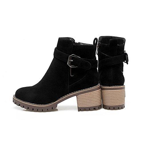 AgooLar Damen Blend-Materialien Rund Zehe Rein Reißverschluss Stiefel Schwarz