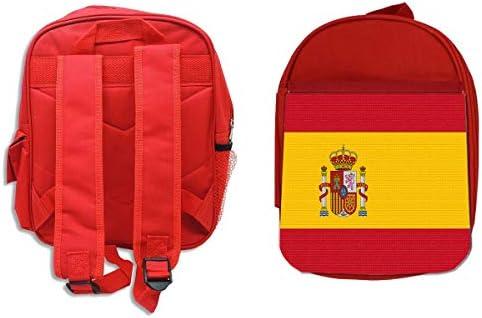 MOCHILA ROJA BANDERA ESPAÑA PAIS UNIDO backpack rucksak: Amazon.es ...