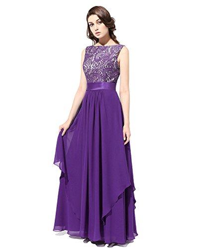 Long Gown Party Bridesmaid Purple Bridesmay Dress Chiffon Prom V Dress Back Evening 06Fdw