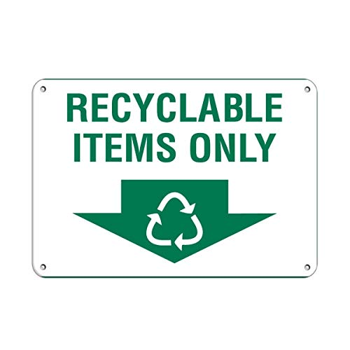 BBHUHU Recyclable Items Only Activity Sign Recycling Signs Aluminum Metal Sign