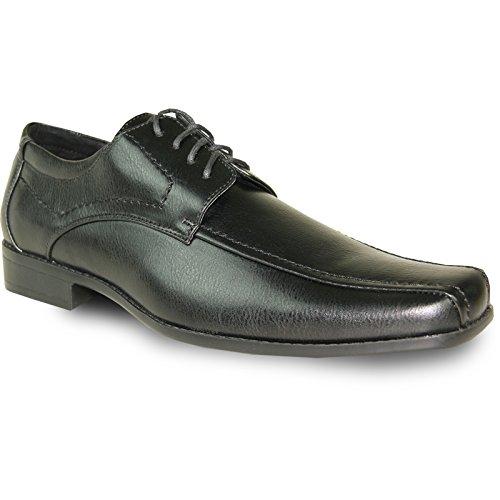 Bravo Men Dress Shoe Monaco-3 Oxford Classico Con Punta Quadrata Per Bicicletta E Fodera In Pelle Nera