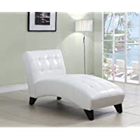 ACME Anna White Faux Leather Lounge Chaise