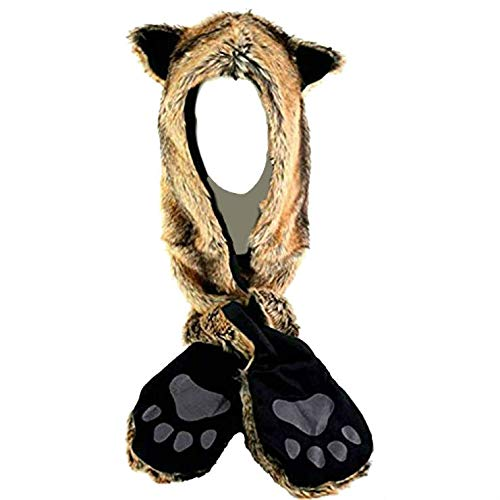 Fox Anime Faux Animal Hood Hoods Mittens Gloves Scarf Paws Prints and Ears