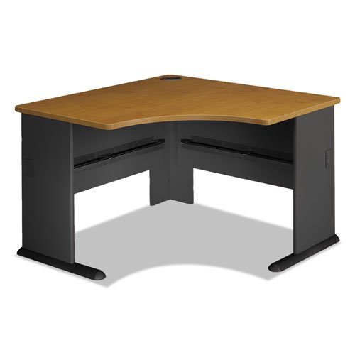 Bush Business Furniture Series A 48W Corner Desk in Natural Cherry and Slate