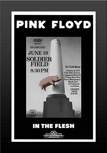 Print Pink Floyd Soldier Field 1977 Concert Retro Art Print — FRAMED — Print of Retro Concert Poster — Features Nick Mason, Roger Waters, Richard Wright, Syd Barrett and David Gilmour.