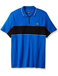 Men's Short Sleeve Colorblock Zip Golf Polo