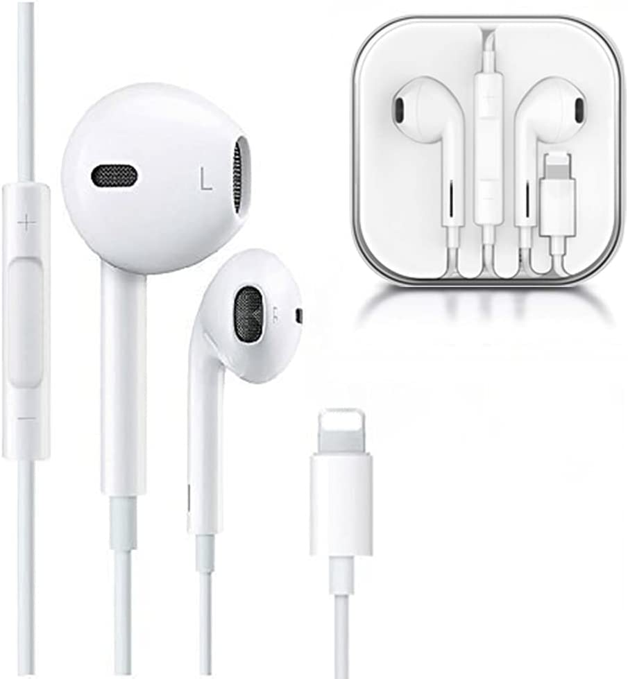 Wired Earbuds Pop-up Pair Earphones with Microphone Stereo Headphones with Mic in-Ear Noise Isolating Headsets Compatible with iPhone 12/11 Pro Max/Xs Max/XR/X/7/8 Plus