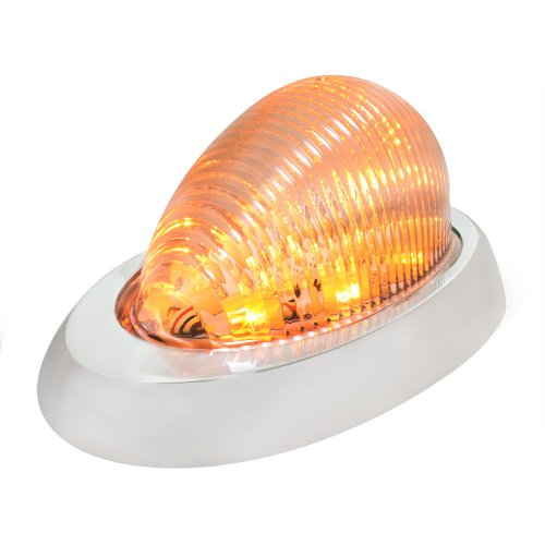 Grand-General-76373-Amber-Oval-12-LED-Side-Marker-and-Turn-Signal-Sealed-Light-with-Clear-Lens-and-Chrome-Bezel-for-Freightliner-CenturyColumbia
