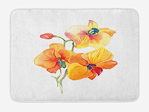Weeosazg Floral Bath Mat, Orchid Petals Wild Flower Exotic Fragrance Pure Florets Watercolor Tribal, Plush Bathroom Decor Mat with Non Slip Backing, 31.5 X 19.7 Inches, Red Yellow Marigold