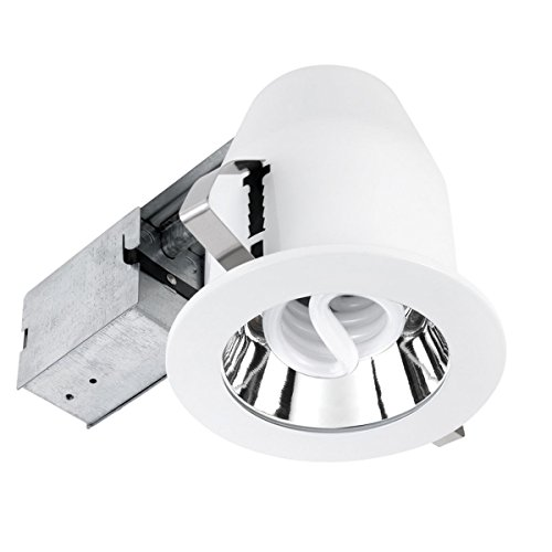 Globe Electric 9232301 5 inch Recessed Lighting Kit, CFL, White Finish with Chrome Reflector, Spot Light