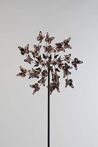 Chalily Garden Wind Spinner Kinetic Sculptures | Butterfly Bounty | Bronze Finish