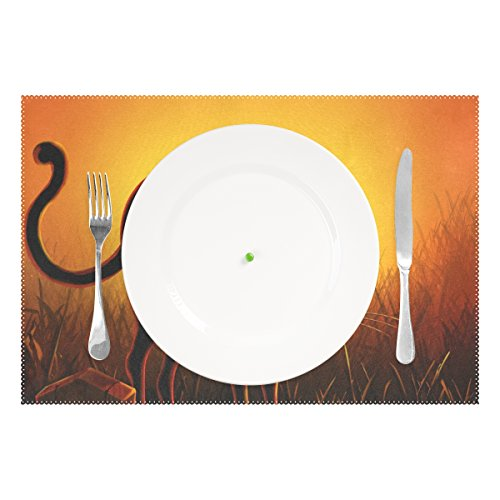 Halloween Black Cat Print Placemats, ALIREA Heat-resistant Placemats Stain Resistant Anti-skid Washable Polyester Table Mats Non Slip Easy Clean Placemats, 12''x18'', Set of 4 by ALIREA (Image #1)'