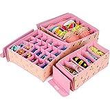 LXOICE (3 Set) Non-Woven Cloth Undergarment Organizer Storage Box Innerwear, Clothing, Underwear, Bra, Socks, Tie, Organizer (Cherry Pink)